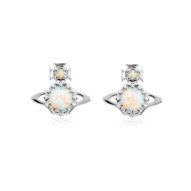 Vivienne Westwood Silver Opal Latifah Earrings   - Click to view larger image