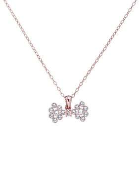 Ted Baker Rose Gold Small Crystal Bow Necklace  - Click to view larger image