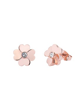 Ted Baker Rose Gold Heart Flower Stud Earrings  - Click to view larger image