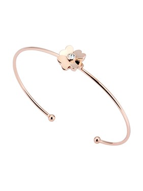 Ted Baker Rose Gold Heart Flower Cuff Bracelet   - Click to view larger image