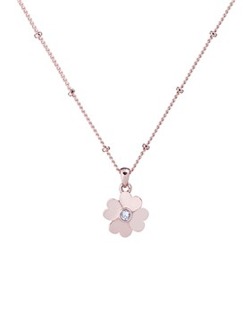 Ted Baker Rose Gold Heart Flower Necklace  - Click to view larger image