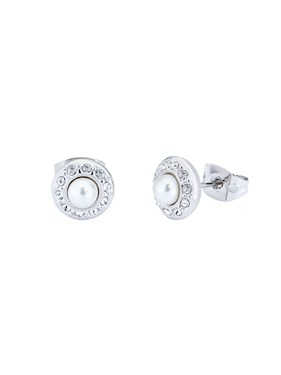 Ted Baker Silver Daisy Crystal Pearl Stud Earrings  - Click to view larger image