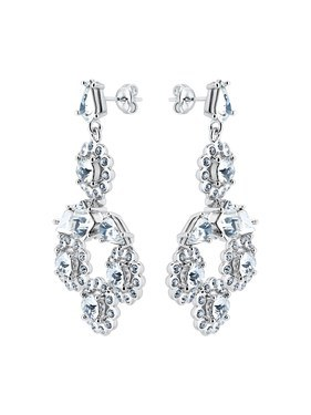 Ted Baker Silver Daisy Crystal Large Drop Earrings  - Click to view larger image