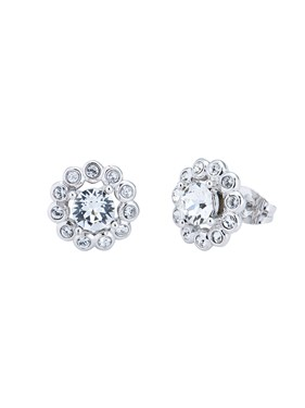 Ted Baker Silver Daisy Crystal Stud Earrings  - Click to view larger image