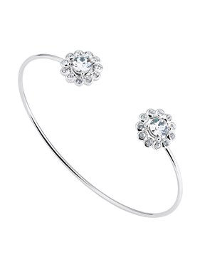 Ted Baker Silver Daisy Crystal Cuff Bracelet  - Click to view larger image