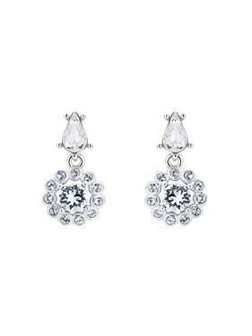 Ted Baker Silver Daisy Crystal Drop Earrings  - Click to view larger image