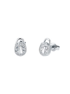 Ted Baker Silver Mini Padlock Stud Earrings  - Click to view larger image