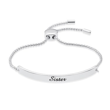 Karma Silver Sister ID Bracelet   - Click to view larger image