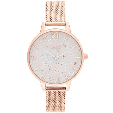 Olivia Burton Celestial Rose Gold & White Dial Ladies Watch  - Click to view larger image