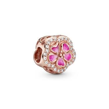 Pandora Sparkling Peach Blossom Flower Charm  - Click to view larger image