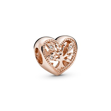 Pandora Rose Openwork Family Tree Heart Charm  - Click to view larger image