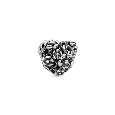 Pandora Flower Heart Mummy Charm  - Click to view larger image