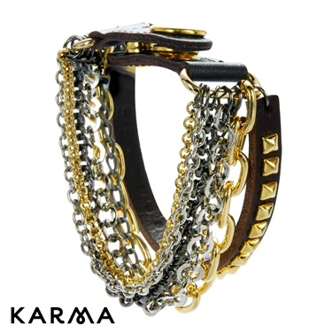 Karma Multi Chain Leather Bracelet  - Click to view larger image