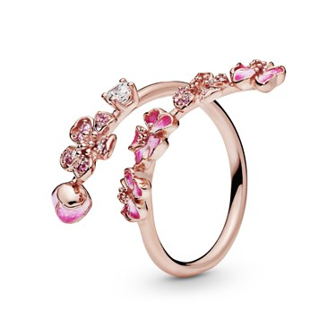 Pandora Peach Blossom Flower Branch Ring  - Click to view larger image