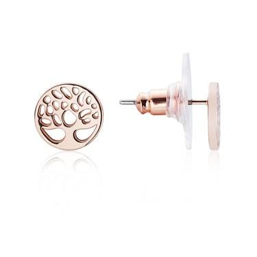 Karma Rose Gold Tree Stud Earrings  - Click to view larger image