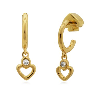 Kate Spade New York Gold Crystal Heart Hoop Earrings  - Click to view larger image