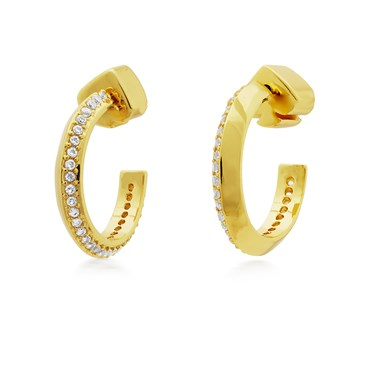 Kate Spade New York Gold Crystal Huggie Earrings  - Click to view larger image