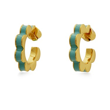 Kate Spade New York Turquoise Scalloped Huggie Earrings  - Click to view larger image