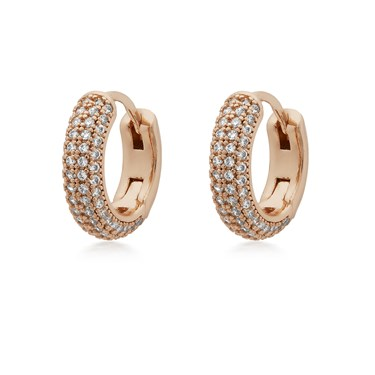 Kate Spade New York Rose Gold Crystal Pave Huggie Earrings   - Click to view larger image