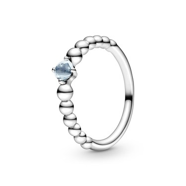 Pandora March Birthstone Beaded Ring  - Click to view larger image