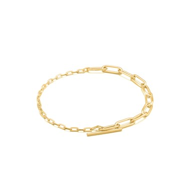 Ania Haie Gold Mixed Link T-Bar Bracelet  - Click to view larger image