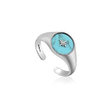 Ania Haie Silver Turquoise Adjustable Ring   - Click to view larger image