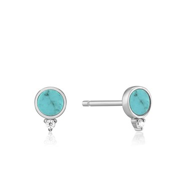 Ania Haie Silver Turquoise Stud Earrings  - Click to view larger image