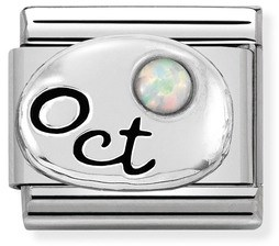Nomination October Opal stone Birthstone Charm   - Click to view larger image