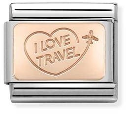 Nomination I Love Travel Charm   - Click to view larger image