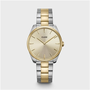 CLUSE Feroce Gold + Silver Link Watch   - Click to view larger image