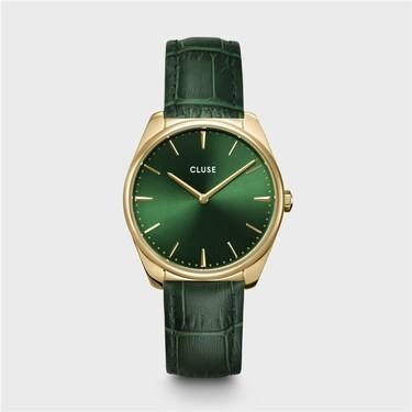 CLUSE Feroce Green Crocodile Leather Watch  - Click to view larger image