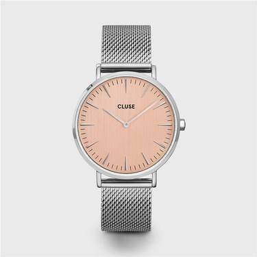 CLUSE La Boheme Silver Mesh & Rose Gold Watch  - Click to view larger image