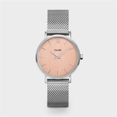CLUSE Minuit Silver Mesh & Rose Gold Watch   - Click to view larger image