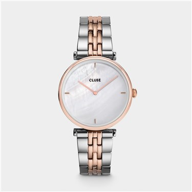 CLUSE Triomphe Silver + Rose Gold Pearl Watch  - Click to view larger image