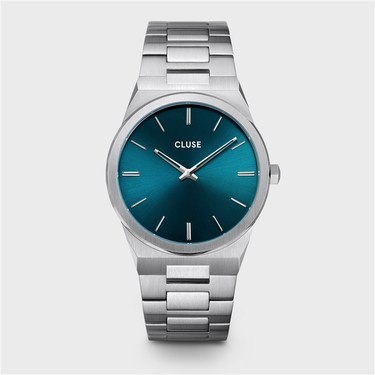 CLUSE Vigoureux Silver + Petrol Blue Mens Watch  - Click to view larger image