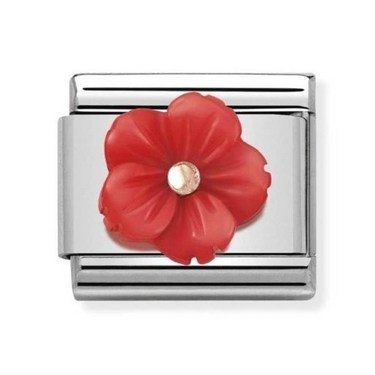Nomination Red Flower Mother of Pearl Charm  - Click to view larger image