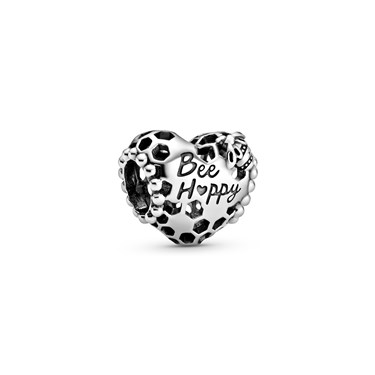 Pandora Bee Happy Honeycomb Heart Charm  - Click to view larger image