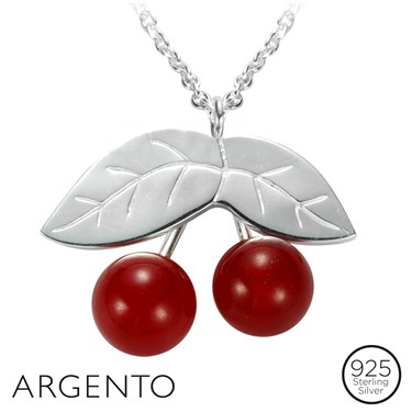 Argento Silver Cherry Necklace
