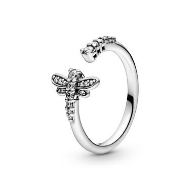 Pandora Sparkling Dragonfly Open Ring  - Click to view larger image
