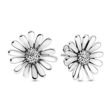 Pandora Daisy Flower Stud Earrings  - Click to view larger image