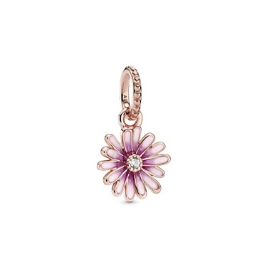 Pandora Pink Daisy Flower Dangle Charm  - Click to view larger image