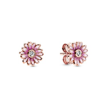 Pandora Pink Daisy Flower Stud Earrings  - Click to view larger image