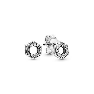 Pandora Sparkling Honeycomb Hexagon Earrings  - Click to view larger image
