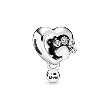 Pandora Sparkling Paw Print & Heart Charm  - Click to view larger image