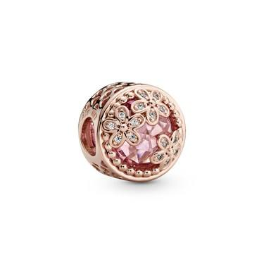 Pandora Sparkling Pink Daisy Flower Charm  - Click to view larger image