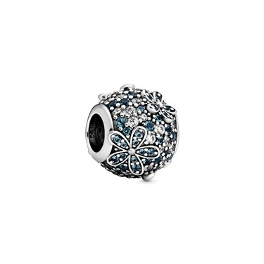 Pandora Teal Crystal Daisy Flower Charm  - Click to view larger image