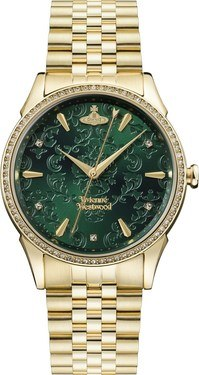 Vivienne Westwood Wallace Green + Gold Bracelet Watch  - Click to view larger image