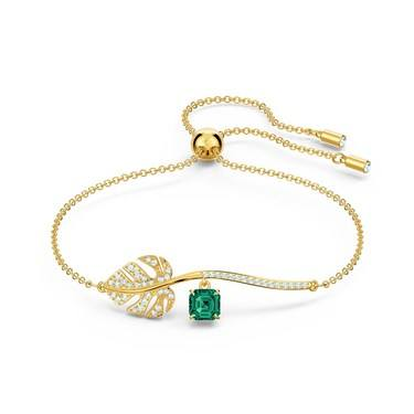 Swarovski Tropical Leaf Gold Bracelet  - Click to view larger image