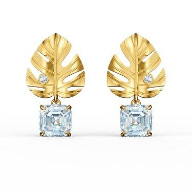 Swarovski Tropical Leaf Gold Earrings  - Click to view larger image