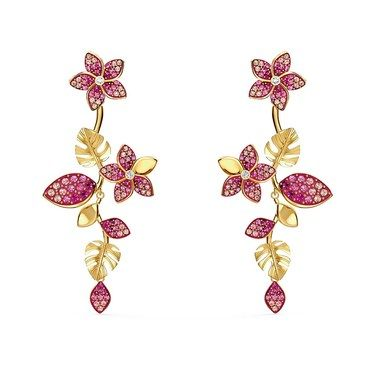 Swarovski Tropical Gold + Pink Drop Flower Earrings  - Click to view larger image